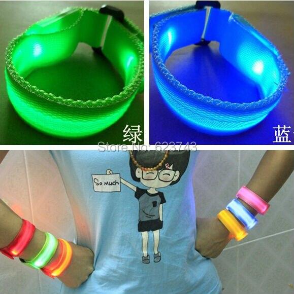 50Pcs/Lot Sports flash fiber optic LED luminous wrist band Multifunction LED light-emitting Wristband with Buckle Bracelet