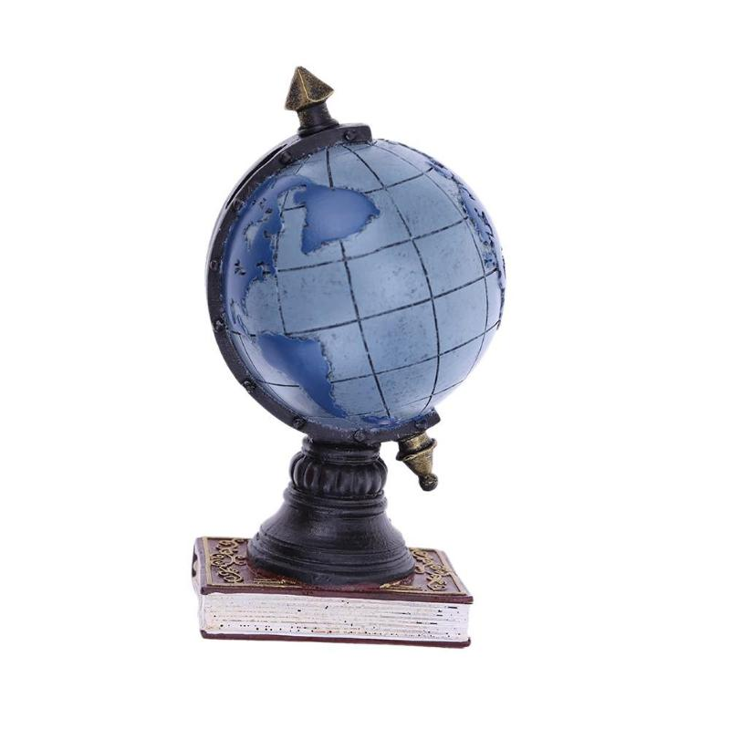 Vintage Resin Globe Saving Pot Piggy Bank Ornament Desktop Decor(Blue/S)