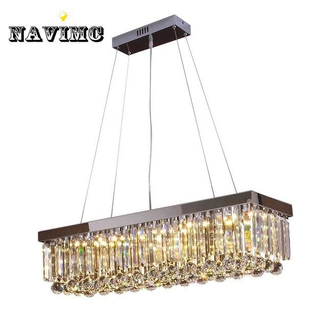 Moderne de luxe lustre rectangulaire lustre en cristal for Lustre ampoules suspendues