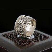 Antyczne srebro pierścień yinfeng tom 999 grzywny srebra pierścienie i retro antique craft otwarcie pierścienia special oferta