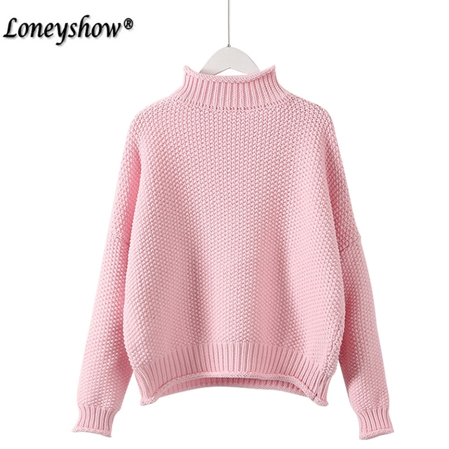 68d12a12bad34 Otoño Invierno Turtleneck suéter mujeres 2017 Nuevo diseño rosa grueso  Tricot mujeres suéter y suéter mujer