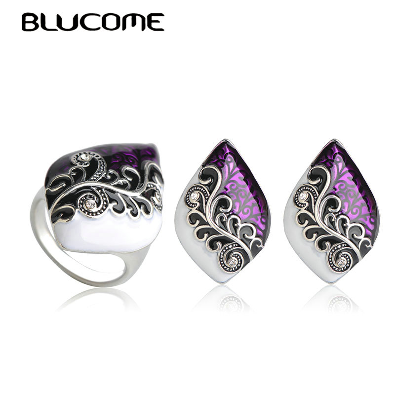 Blucome Dubai Purple Enamel Stud Earrings Wide Ring Set Flower Shape Gold Color Jewelry Sets For Women Wedding Party Accessories
