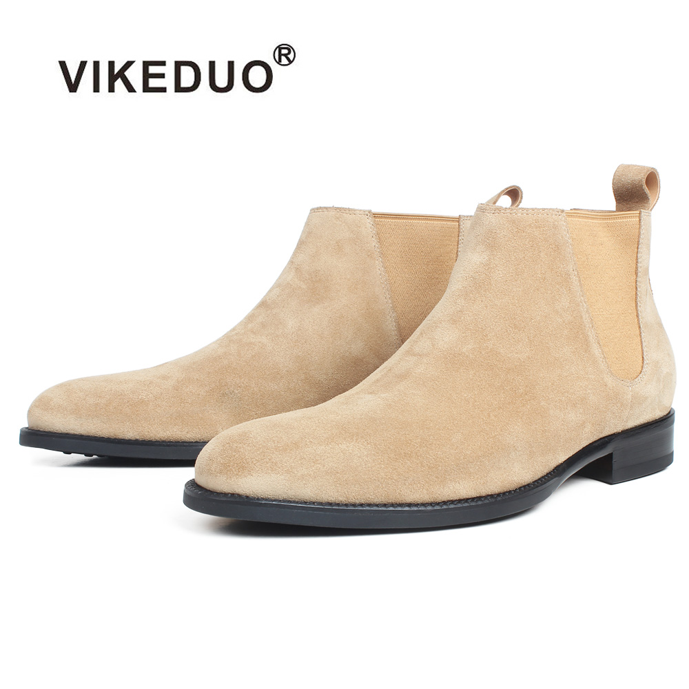 VIKEDUO Ankle Boots For Men Apricot Genuine Suede Skin Customized Made Square Leather Shoes Flat Slip-On Autumn Chelsea Boots martine women ankle boots flat with chelsea boots for ladies spring and autumn female suede leather slip on fashion boots