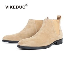 VIKEDUO Ankle Boots For Men Apricot Genuine Suede Skin Customized Made Square Leather Shoes Flat Slip-On Autumn Chelsea Boots недорого