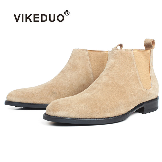 VIKEDUO yarım çizmeler Erkekler Için Kayısı Hakiki Süet Deri Özel Yapılmış Kare deri ayakkabı Düz Slip-On Sonbahar Chelsea Çizmeler