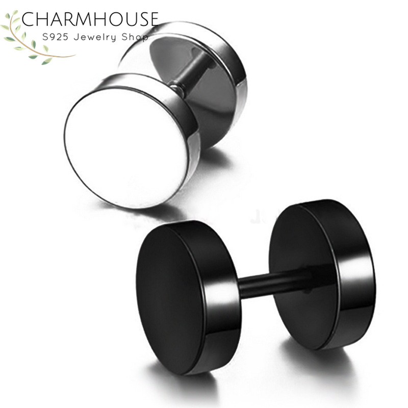 New Arrival Double Sides Barbell Stud Earrings for Men 316L Stainless Steel Man Earring Fashion Male Jewelry Punk Rock Style