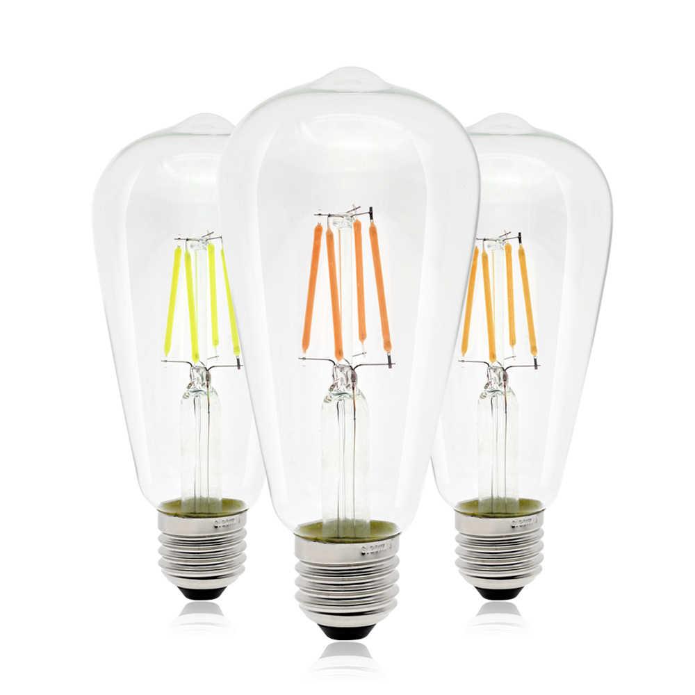 E27 светодиодный лампочка эдисона ST64 светодиодный ламп накаливания 220 V 4 W 6 W Античная Ретро Стекло домашние декоративные настольные лампы