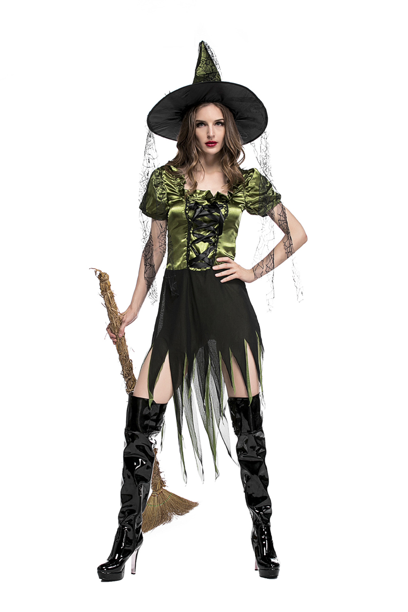 High Quality Fantasy Forest Fairy Cosplay Costume Green Irregular Adult Witch Dress Women Fancy Halloween Party Outfit With Hat