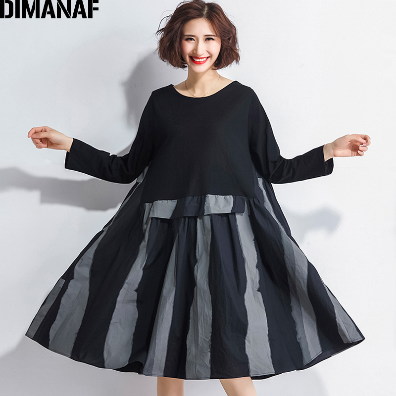 DIMANAF Women Dress Autumn Clothing Long Sleeve Striped Black Spliced Plus Size Cotton Femme Lady Loose Vintage A-Line Vestidos