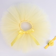 79c963657a Light Yellow Solid Baby Girls Fluffy Tutu Skirt & Headband Set Newborn  Photo Prop Costume Infant