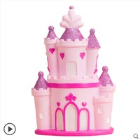 Cute princess castle Money pot Ornaments Pink girl heart gift fairy tale piggy bank Creative giveaway birthday gift