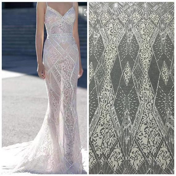 1 Yard Exquisite Clear Sequin Geometric Embroidery Soft Tulle Lace Fabric in Off White Wedding Gown