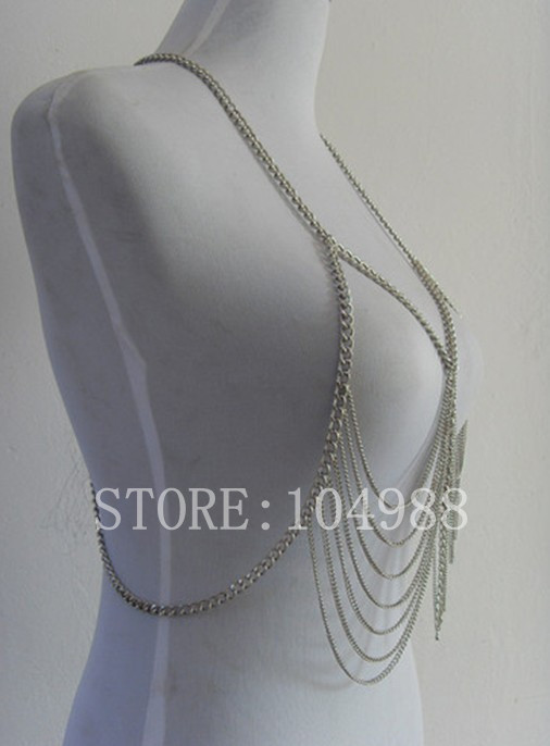 New STYLE BY-132 Silver Colour Chain Jewelry New Style Tassel Metal Body Chains Jewelry Harness