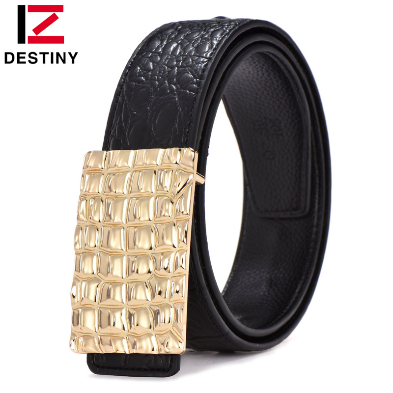DESTINY Designer Belts Men Luxury Famous Brand Male Genuine Leather Strap Waist Gold Silver Wide Belt Jeans Cinto Ceinture Homme