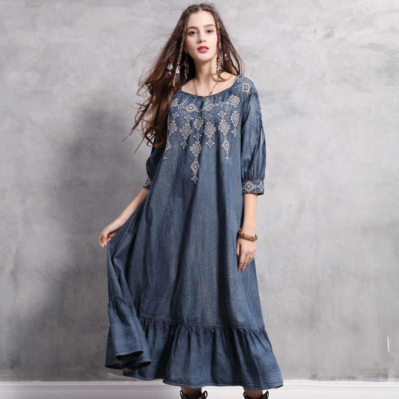 2019 Spring Summer Women Denim Dressses Vintage Embroidery Plus Size Half Length Sleeve Ruffles Sweep Retro