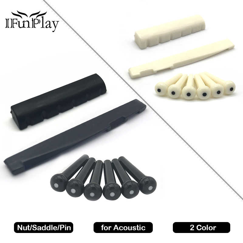 Portable 6-String Acoustic Guitar Bridge Pins Saddle Nut Plastic Folk Guitar Kit Guitarra Accessories for Acoustic Guitar