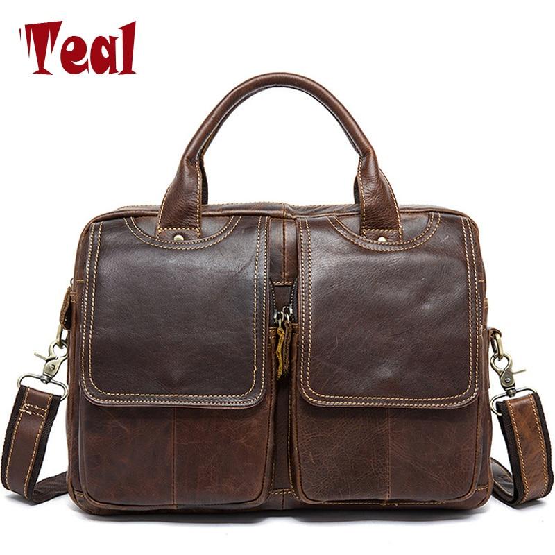 цена на 2018 new Genuine Leather Men Bag Briefcase Fashion Man Business Crazy horse skin Laptop bag Large capacity designer high quality