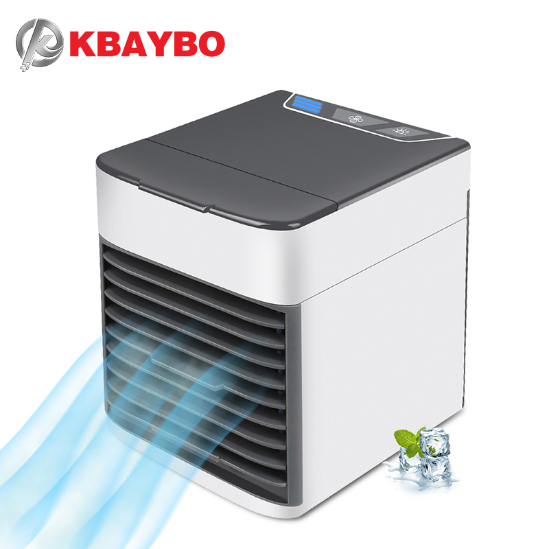 KBAYBO USB Air Conditioning Fan Mini Air Cooler Refrigeration  Mobile portable air conditioner  with 7 Colors LED light for Home air conditioning