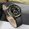 Sobrevoar EYKI Top Marcas de Papel Tiras De Couro dos homens de Moda de Luxo Ultra Fino Relógios de Quartzo Relógios de Pulso Casual para o Sexo Masculino presentes