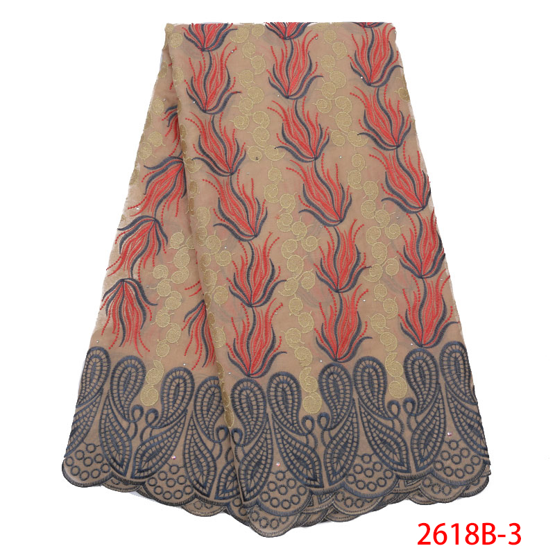 Swiss Voile Laces In Switzerland High Quality Lace African Dry Lace Fabric Nigeria Lace With Stones For Women Dress KS2618B-3