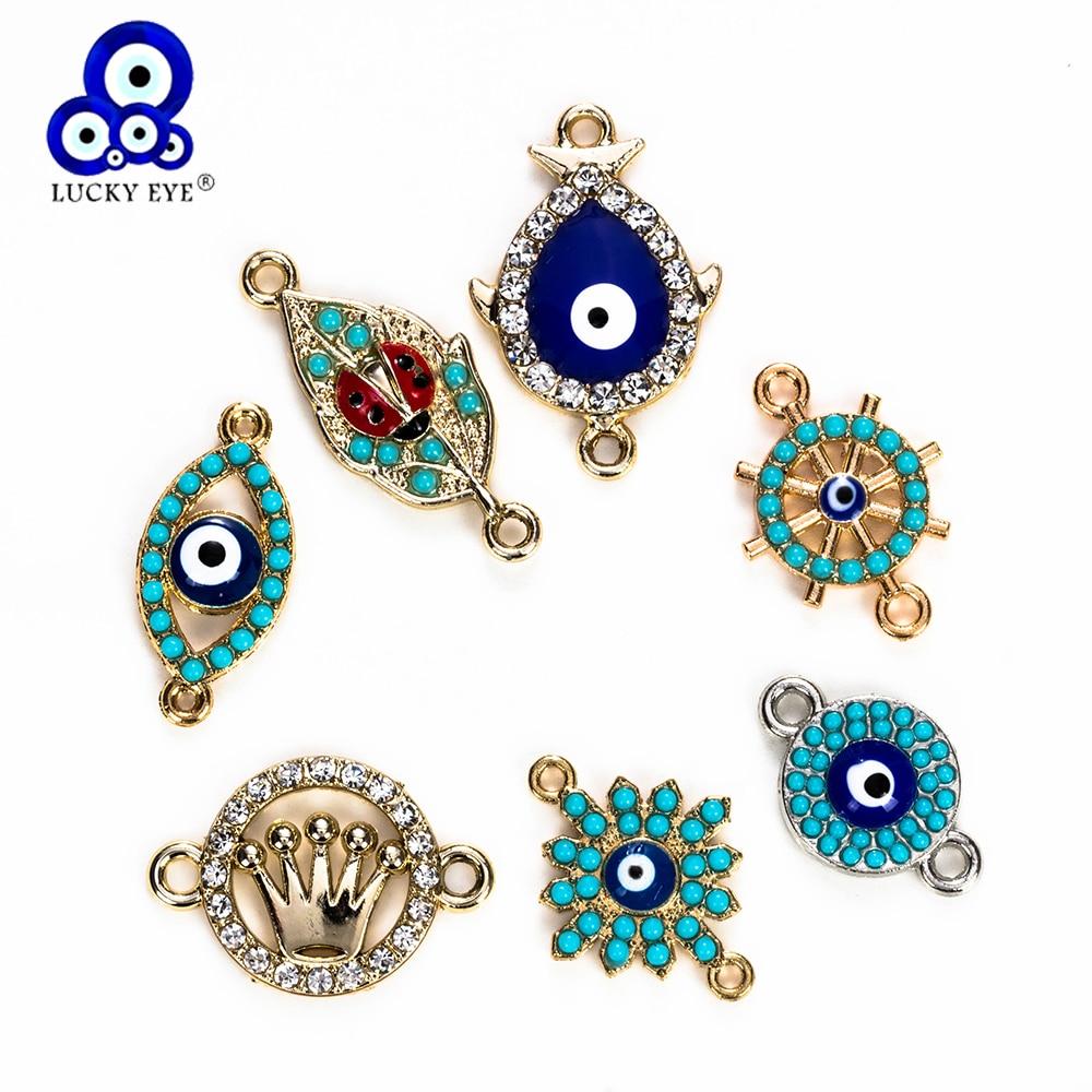 Glück Auge Blau Evil Eye Charms Anschluss Für Armband Schmuck Zubehör Verschiedene Stil Anhänger Handgemachte EY5265