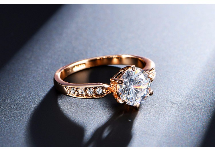 Zircon Engagement Ring for Women Rose gold color Wedding ring