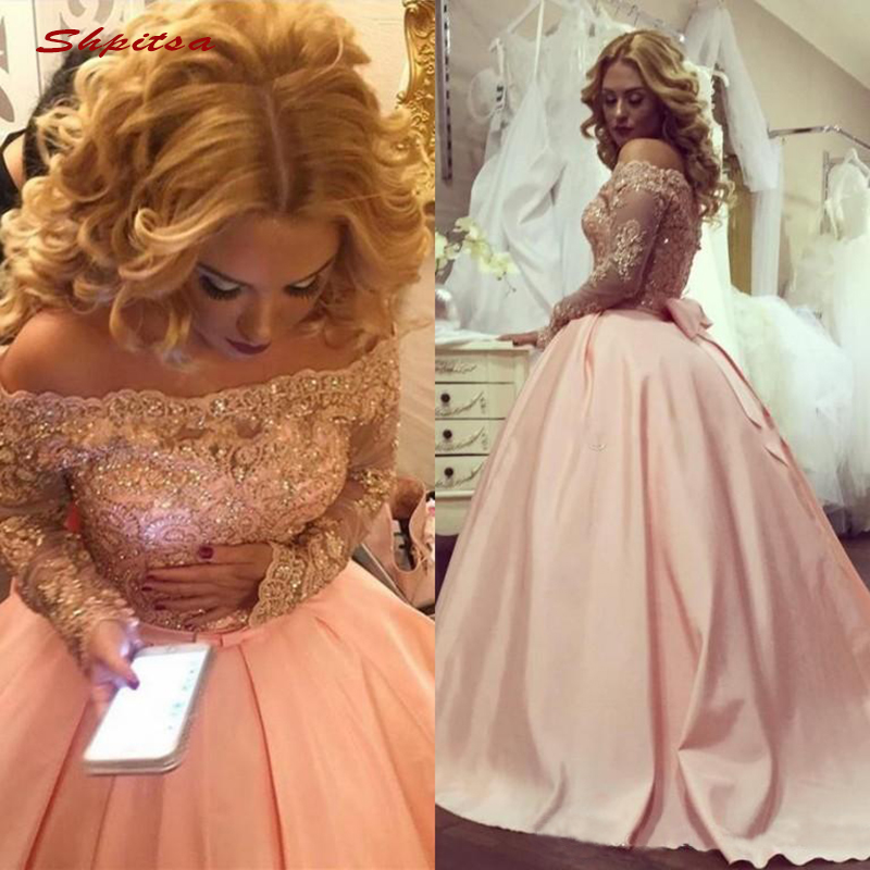 Pink Long Sleeve Lace Quinceanera Dresses Ball Gown Off Shoulder Prom Debutante Sixteen 15 Sweet 16