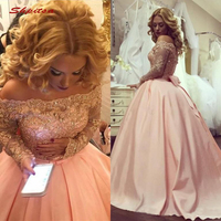 Pink Long Sleeve Lace Quinceanera Dresses Ball Gown Off Shoulder Prom Debutante Sixteen 15 Sweet 16 Dress vestidos de 15 anos
