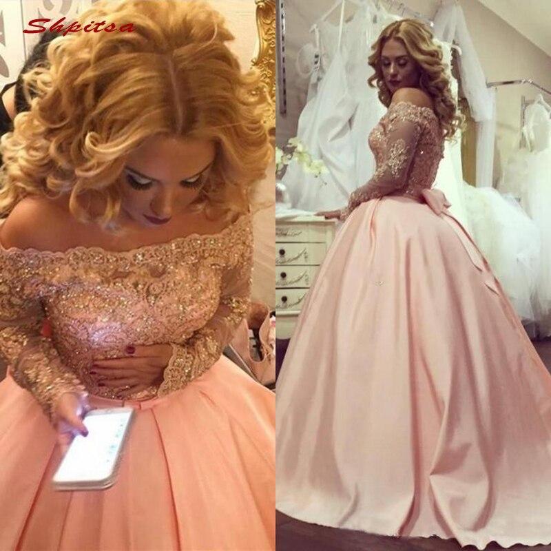 Rose manches longues dentelle Quinceanera robes robe de bal épaule dénudée bal Debutante seize 15 doux 16 robe vestidos de 15 anos