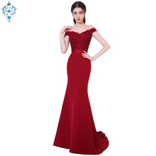 Ameision 2019 Robe De Soiree Mermaid court train Backless Slim Belt Evening Dress Long Party Elegant Off The Shoulder Prom Gown