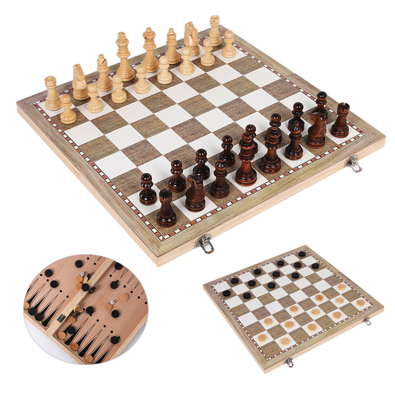 BSTFAMLY wood chess set, portable game of chess, checkers backgammon three kinds of game ...
