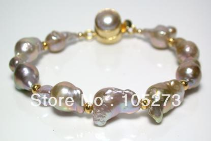 New Free Shipping Pearl Jewelry 10X15MM Natural Gold-Pink Baroque Pearl And Karen Gold Vermeil Bracelet Top Quality Wholesale