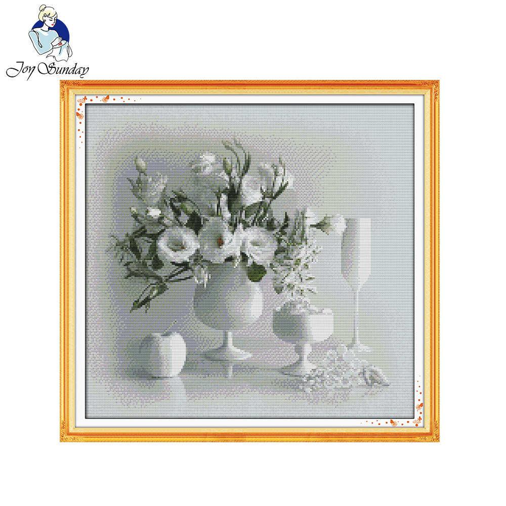 喜び日曜日白い花瓶11ctプリント生地カウントキャンバス数え中国クロスステッチキットクロスステッチセット刺繍針仕事