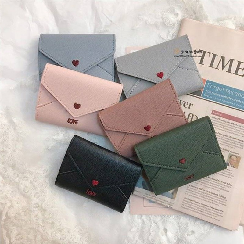 Love Heart-shaped Embroidery Line Lychee Pattern Simple Fashion 3 Fold Wallet Female Short Paragraph 2019 New Handbag