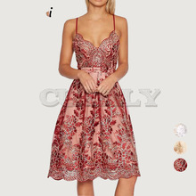 Cuerly V neck embroidery lace party brand dress women Sexy floral formal strap white dress vestidos Elegant knee length dress L5