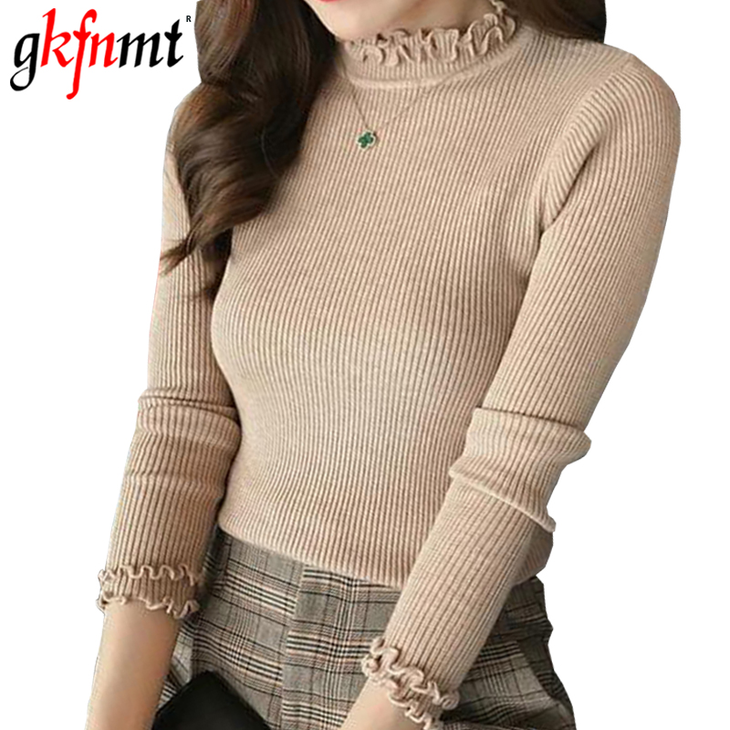 Gkfnmt Women Sweater Pullover Basic Rib Knitted Cotton Top Solid Turtleneck Ruffled Jumper Long Sleeve Warm Slim Korean Sweaters