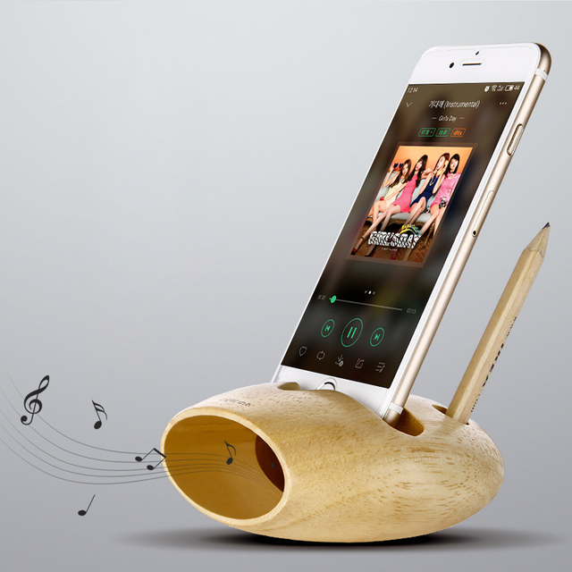 Cell Phone Charging Dock Natural Wood Docking Station Iphone Stand Holder Sound Amplifier For