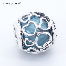 Pandulaso Summer Blue Encased in Love Heart Beads for DIY Jewelry Making Fit Charms Silver 925 Original Bracelets & Bangles