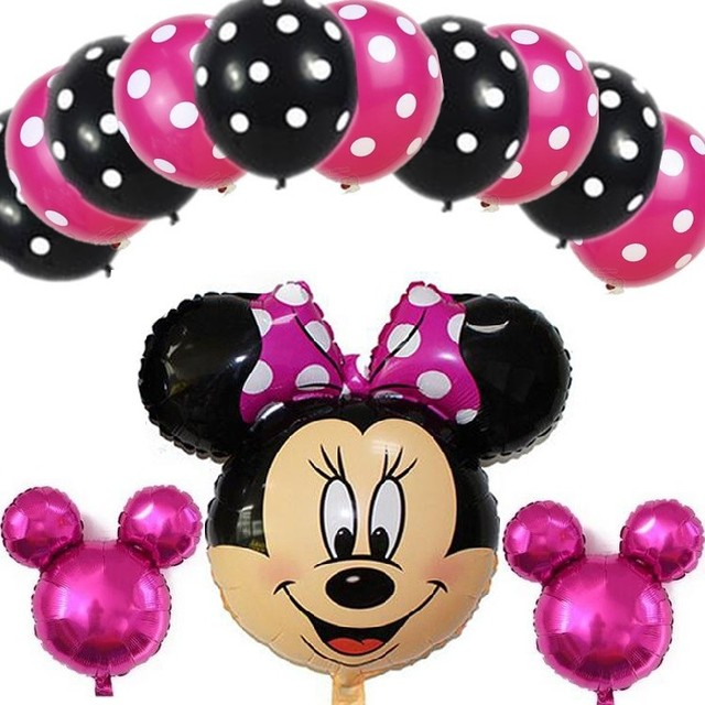 13pc Mickey Minnie Mouse Foil Balloons Lot Helium Latex