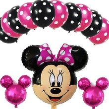 13pc mickey minnie mouse foil balloons lot helium latex globos baby shower birthday Wedding Christmas party decoration supplies