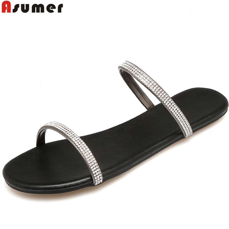 ASUMER 2018 fashion summer new arrival shoes woman casual comfortable mules shoes Rhinestone slippers red white asumer 2018 summer new arrival women