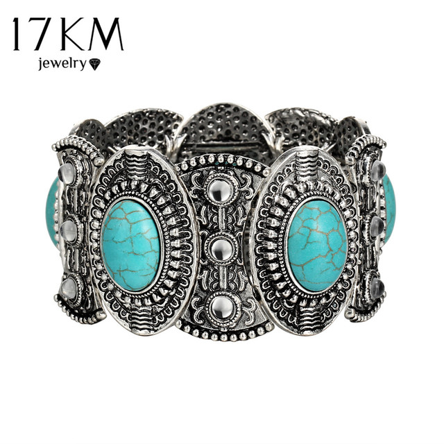 17KM Retro Pattern Ancient Silver Oval Big Stone Bangles For Women Bohemian Stat