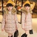 Crianças outerwear inverno Floral Impressão casaco Mianfu longo Menina parka espessamento Roupas Quentes do Sexo Feminino gola de pele de Coelho de Alta Qualidade