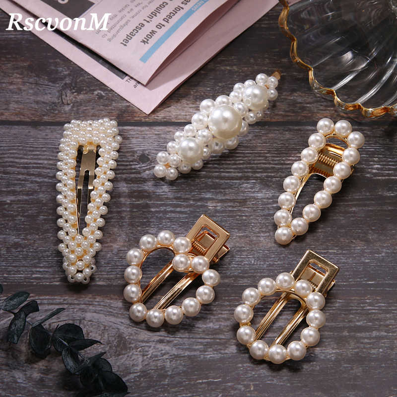Women Crystal Elegant Pearl Hair Clip Barrette Korean Hairpin Barrette Headdress Hair Accessories Girls Hair Clip