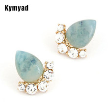 Fashion Gold Plating Cat Eye Three Colors Available Stud Shining stone Earring Jewelry For Women