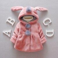Baby Girls Plush Thickening Coat Winter Cute Warm Rabbit Ears Hooded Children Thicken Jacket Toddler Girl