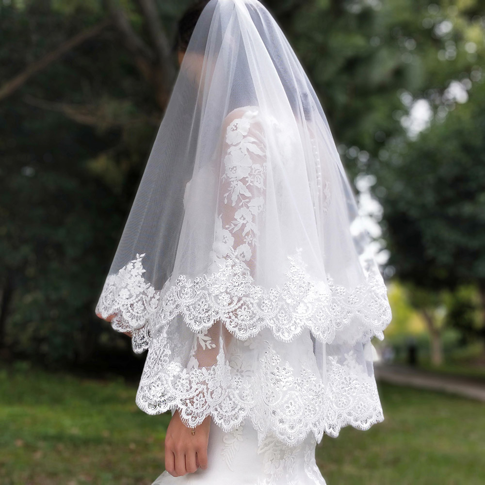 Image 4 - New Arrival 2 Layers Sequins Lace Edge Short Woodland Wedding Veils with Comb 2 T White Ivory Tulle Bridal Veils 2019-in Bridal Veils from Weddings & Events
