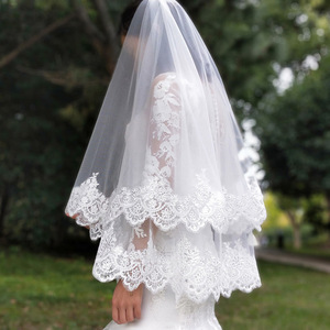 Image 4 - New Arrival 2 Layers Sequins Lace Edge Short Woodland Wedding Veils with Comb 2 T White Ivory Tulle Bridal Veils