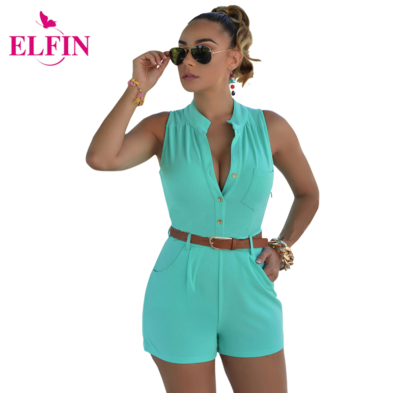 Sexy Sleeveless Rompers Womens Jumpsuit  Summer Stand-up Collar Playsuits Short Overalls With Belt Solid  LJ3911R