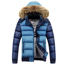 Winter 2016 Men Cotton-padded Coat Fur Hoodied Zip Up Warm Down Jacket Blend Quilted Wadded Outwear Man Parkas Hombre Invierno
